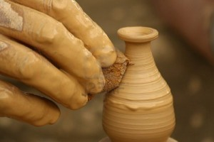 potters hand small vessel